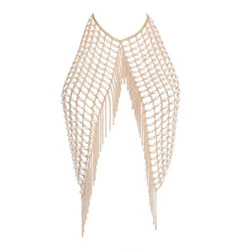 Harmily Women Boho Imitation Pearls Tassel Body Chain Female Girls Night Club Halter Vest Long (Chain Necklace Halter)