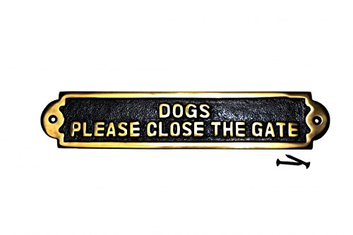 Renovator's Supply Solid Brass Plate Dog Sign DOGS PLEASE CLOSE THE GATE Brass Plaques