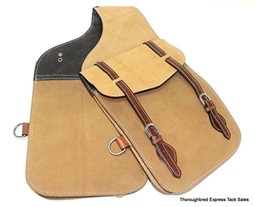 Horse Leather Saddlebags (D.A. Brand Buckskin Colored Roughout Leather Saddle Bags Horse Tack Equine)