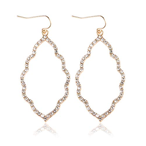 MYS Collection Rhinestone Moroccan Floral Lightweight Open Hoop Dangles - Sparkly Geometric Cut-Out Drop Earrings Scalloped, Moroccan, Quatrefoil Clover (Moroccan - Gold (Quatrefoil Collection)