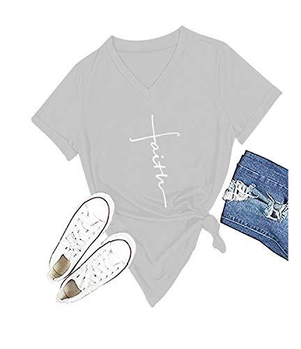Mom's care Women Cross Faith Printed V-Neck Tees Letter Print T-Shirt Christian Graphic Tees (L, Grey)