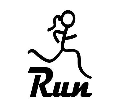 D1093 Run Girl Marathon 13.1 26.2 Running Vinyl Decal Sticker for Car Truck SUV Van Wall Mirror Exercise Fitness