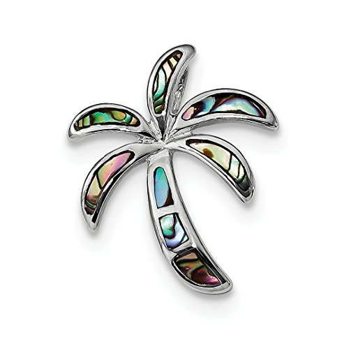 Pen Personalized Sterling Silver Jewelry - ICE CARATS 925 Sterling Silver Created Abalone Palm Tree Pendant Charm Necklace Slide Omega Sea Shore Fine Jewelry Ideal Gifts For Women Gift Set From Heart