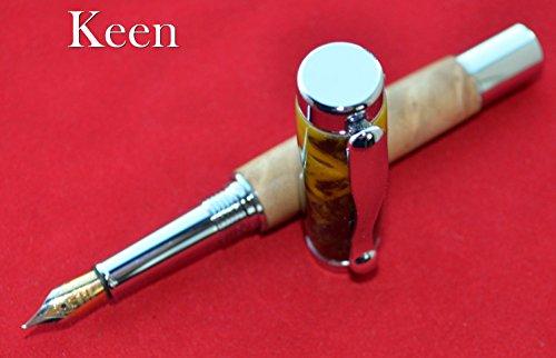 (eu - Keen Handcrafted Handmade Birdseye Maple/Silver Banana Chrome Continental Fountain Pen)