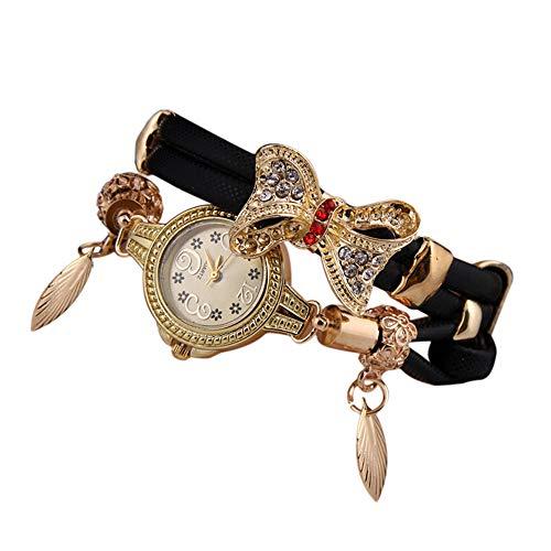 SMALLE ◕‿◕ Women's Luxury Crystal Bracelet Watches Ladies Quartz Wristwatch Rhinestone Watches Round Analog Wrist Watches Black