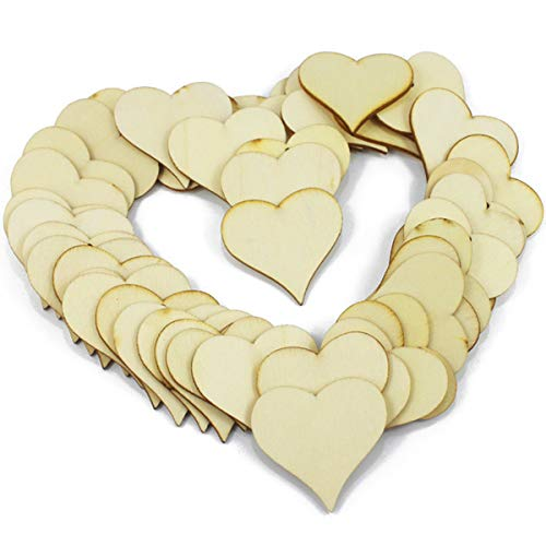 Akusety 2-Inch Unfinished Wooden Heart Blank Wood Cutout Heart Slices Discs DIY Crafts - Bag of 100