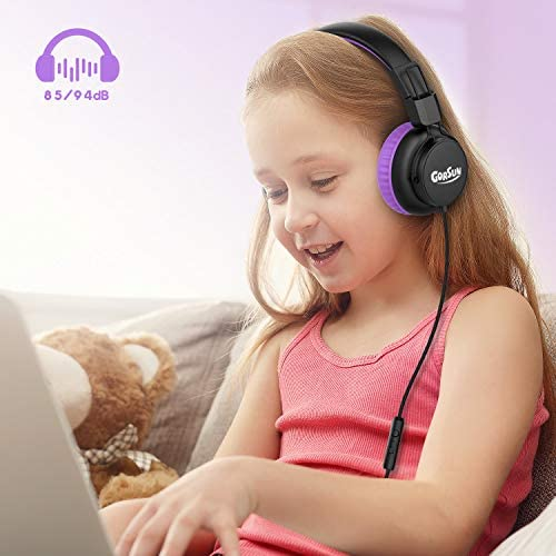 gorsun Kids Headphones, 85dB/94dB Volume Limited Children Headsets with in-Line Mic Remote Control, Audio Sharing, Retractable Headband, Foldable, Students Headphones for School Home Travel(Purple)