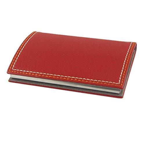 eDealMax Faux Cuir Nom de l'entreprise Métal enduit Card Case/Porte, Rouge