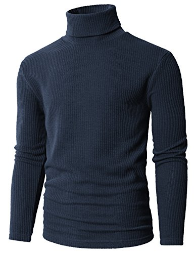 H2H Mens Slim Fit Long Sleeve Turtleneck Mixed Ribbed Hem Pullover Sweater Blue US M/Asia L (KMOSWL0231)