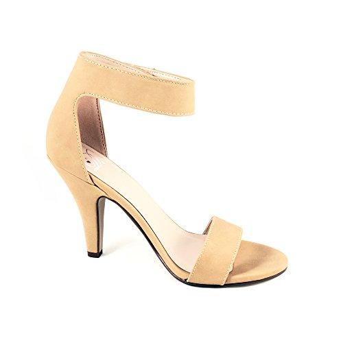 Deliziose Donne Open Toe Tacco Alto Cinturino Alla Caviglia Sandalo Con Tacco Sandalo Naturale