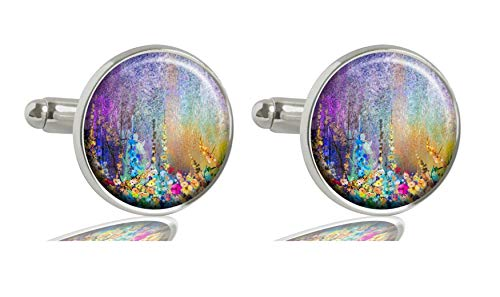 - AH BAO Image Custom Men's 2PCS Initial Shirt Cuff Links Wedding A-Z Business Cufflinks Silver (Abstract Floral Watercolor Painting)