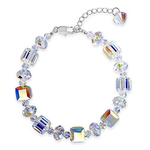 Devin Rose Cube and Briolette Design Bracelet for Women Made with Aurore Boreale Swarovski Crystals ()