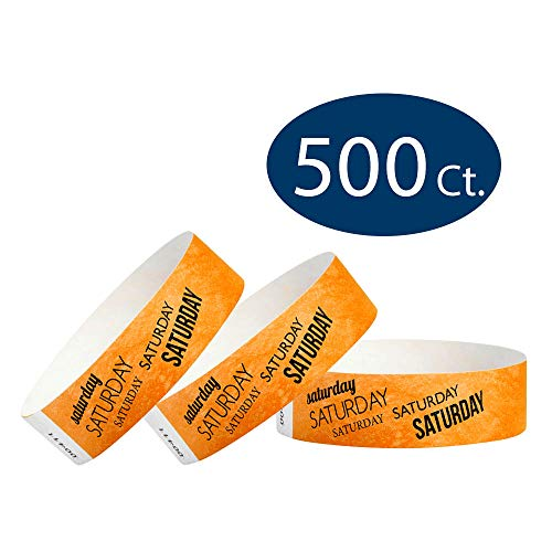 WristCo Saturday Neon Orange 3/4 Inch Day of The Week 500 Count Paper Wristbands for Events