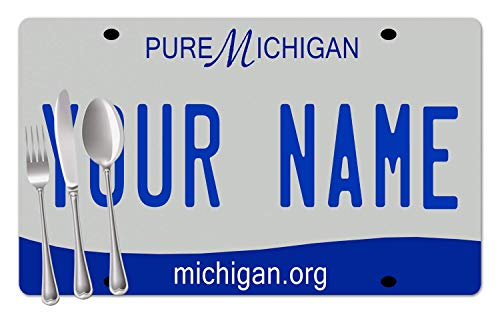 BRGiftShop Personalized Custom Name 2016 Michigan State License Plate Set of 4 Table Placemats