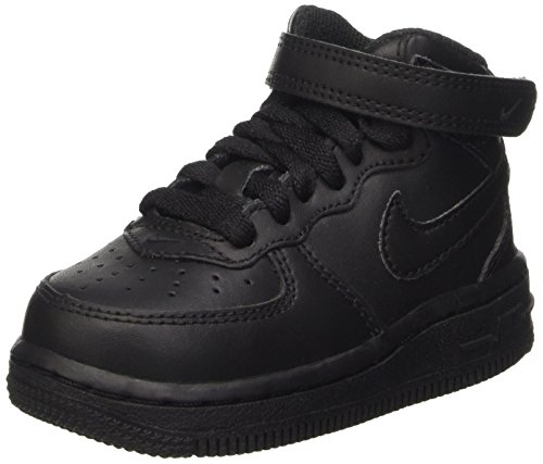 Nike Toddlers Force 1 Mid  Black/Black Basketball Shoe 9 Inf