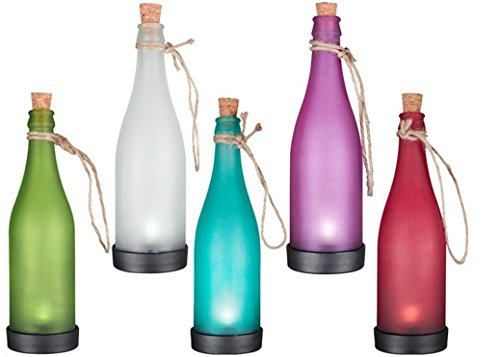 JKLcom Solar Bottle Light Lamp Solar Powered Wine Bottle Lights Hanging Wine Bottle Landscape Lights for Outdoor Garden Yard Lawn Party Courtyard Patio,Pack of 5 by JKLcom