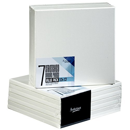Artlicious - Super Value 7 Pack - 12x12 Pre-Stretched Cotton Canvas Panel Boards - Use with All Acrylics, Oils and Other Painting Media [並行輸入品]   B07T8PD9L3