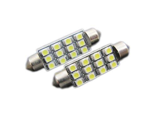 JLC 12-SMD D42 Festoon Light Bulbs - 1210 SMD LED Chips - Brilliant Red