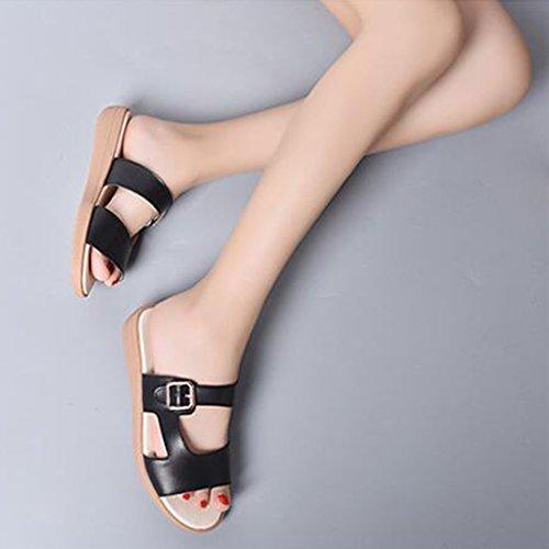 da Sandali Moda Pelle Black Donna Comodi Sandali alla Estivi in Sandali 5RnOw