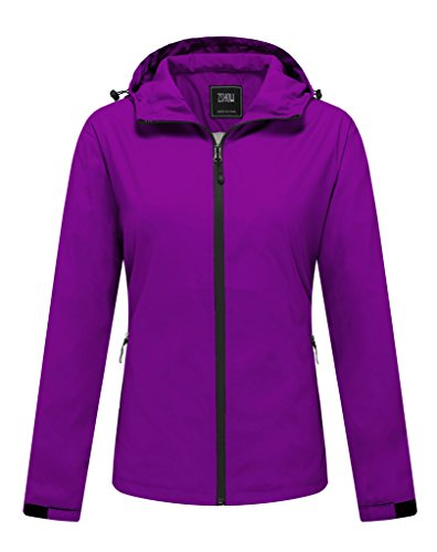 ZSHOW Women's Packable Water and Sand Repellent Windproof Outer Lightweight Runnning Jacket Windcheater With Hood(Purple,Large)