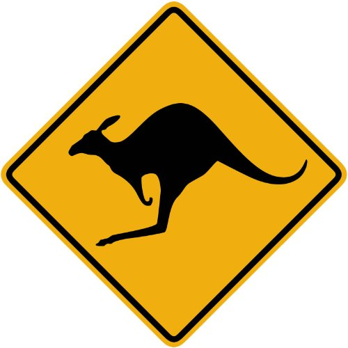 Sign Kangaroo Road (Street & Traffic Sign Wall Decals - Kangaroo Symbol Sign - 12 inch Removable Graphic)
