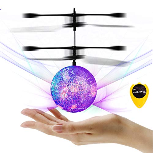 Slepwel UFO Flying Ball Magic led Light with Remote (Purple)