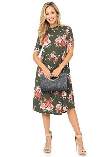 (iconic luxe Women's Mock Neck Trapeze Midi Dress Medium Floral Olive Blush)