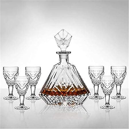 ZzheHou Set Decantador De Whisky Decantador de Whisky y Gafas Set Crystal Decanter Set para el Regalo para los Hombres (Color : Clear, Size : 7 Piece Set)