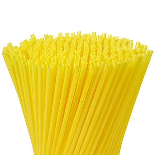 Juvale 300-Pack Plastic Yellow Disposable Party Drinking Straws for Baby Showers & Birthdays, Extra Long Size, 10 Inches