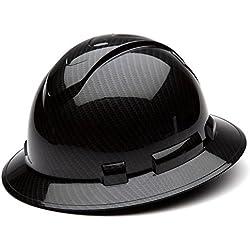 Pyramex Safety Ridgeline Graphite Pattern Full Brim Hard Hat, Four Point Adjustable Ratchet Suspension, Shiny Black, 1 Each