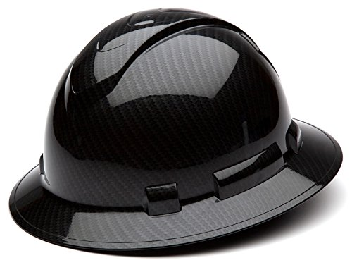 Pyramex Ridgeline Full Brim Hard Hat, 4-Point Ratchet Suspension, Shiny Black Graphite Pattern]()