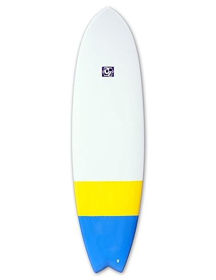 Cortez peces tabla de surf 182,88 cm 6 – azul/amarillo Dip