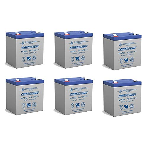 (Powersonic 12V 5Ah UPS Battery for Securitron MINIMAG LOCKS - 6 Pack)