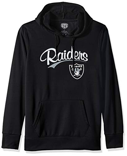 OTS NFL Oakland Raiders Women's Poly Fleece Hoodie Pullover, Scripty, Small