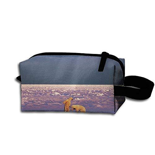 Clash Durable Zipper Wallet Makeup Handbag With Wrist Band Sparring Polar Bears Landscape Toiletry Bag -