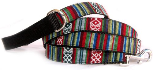- Southwestern black stripe dog leash : Native American, Navajo, Tribal style stripe and ethnic pattern yarn dyed woven designer fabric on durable & flexible black nylon webbing pet leash. Unique artsian handmade pet accessory made in USA. 5/8