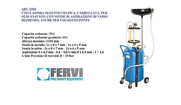 Recuperador aceite Aspirador neumático depósito de 70 litros sondas Fervi 0596: Amazon.es: Bricolaje y herramientas