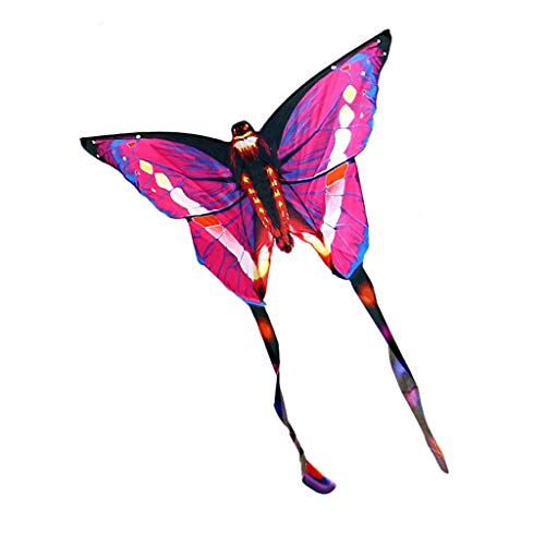 B&MF Kites Adult, Breeze Easy to Fly Outdoor Motion Game Kite Child Park Toy Kite Butterfly Shape Kites, 137 180CM,Pink