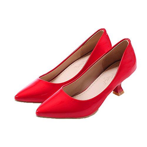 Scarpe Medio Rosso Puro Luccichio Tirare Ballerine Donna Punta Tacco A VogueZone009 qwP6BP