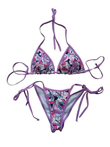 LE BESI Women's Mini Fashion Elegant Inspired Swimsuit Bikini Top Bottom (L:(US4), Purple Print)