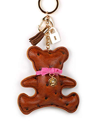 (Large Faux PU Leather Bear Cat Giraffe Dog Keychain Lock Key Tassel Handbag Key Charm Ring Pendant Chain (Bear Brown))