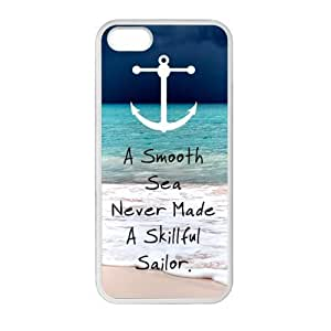 Special Anchor Quotes A Smooth Sea, Never Made a Skillful Sailor Pattern iPhone 5 5S TPU(Laser Technology) Durable Back Case Shell - For iPhone 5 5S