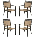 Signature Design by Ashley – Carmadelia Outdoor Sling Dining Chairs – Set of 4 – Tan & Brown Review