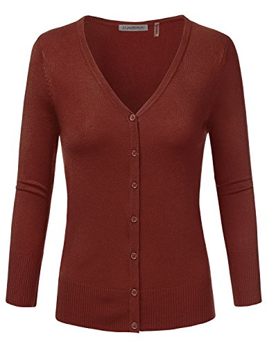 JJ Perfection Women's 3/4 Sleeve V-Neck Button Down Knit Cardigan Sweater Rust 2XL (Sleeve 3/4 Cardigan V-neck)