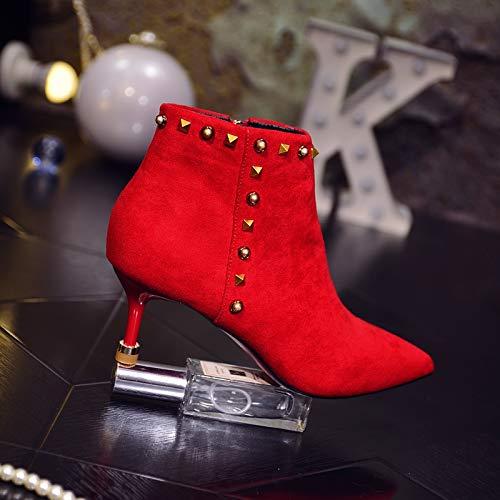 GTVERNH Frauen Schuhe Tipps Schuhe Frauen Nieten Nahen Heels Martin Roten Stiefel Mode Roten Martin Hochzeit Schuhe Gut Heels 1c8daa