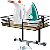 Updesign Ironing Board Hanger Wall Mount, Metal Wall Mount Ironing Board Holder, Iron Board Holder with Large Storage Basket and Removable Hooks for Laundry Room