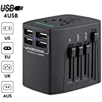 HAMSWAN Universal Power Adapter w/ 5A 4-USB Ports (Black)