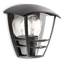 Philips Lighting - Aplique de exterior, empotrado, casquillo gordo E27, bombilla no incluida, resistente a la intemperie, IP44, negro, 19.5 cm