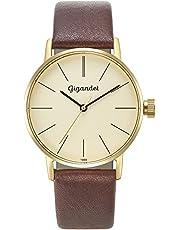 Gigandet MINIMALISM Montre bracelet quartz analogique pour femme en cuir bracelet or marron G43–009