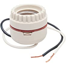 Legrand - Pass & Seymour 8101CC10 Medium Base Incandescent porcelain Lamp Holder, Keyless, Single Circuit, 2-Piece Ring with Leads 1 3/8-Inch to 1 1/2-Inch Hole